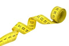 Yellow measuring tape isolated on white background royalty free stock photo