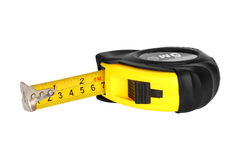 Yellow measuring tape isolated on white Stock Photos