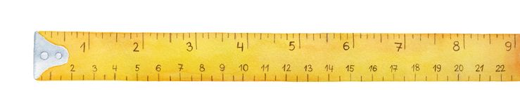 Yellow measuring tape watercolor illustration. royalty free stock images