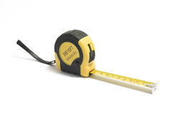 Yellow measuring tape on white Stock Images