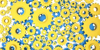 Yellow mechanical 3D manufacturing, metal gears cog cogs Stock Images
