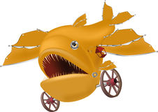 Yellow mechanical fish. On wheels with a lamp Royalty Free Stock Images
