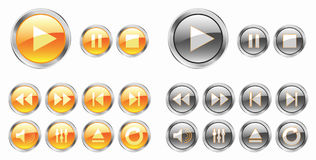 Yellow media buttons Royalty Free Stock Image