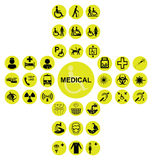 Yellow Medical and health care Icon collection Stock Image