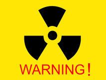 Yellow medical radio symbol with warning word. For your design Royalty Free Stock Photos