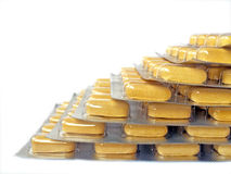 Yellow medication blister stack Royalty Free Stock Images
