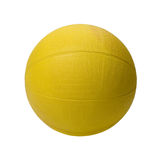 Yellow medicine ball isolated. Yellow six pound medicine ball isolated on a white background royalty free stock images