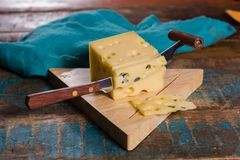 Yellow medium-hard mild Swiss cheese Emmental Stock Images