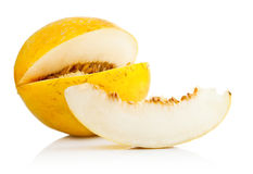Yellow melon with cut Stock Images