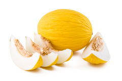 Yellow melon on white Royalty Free Stock Photography