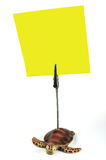 Yellow Memo. Turtle clip holding a yellow memo Stock Photography