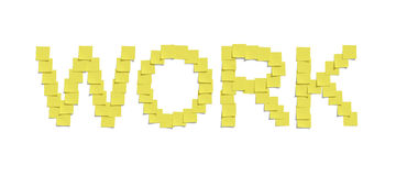 Yellow memo notes illustrating WORK and including clipping path Stock Photos