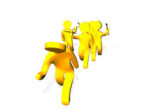Yellow men Stock Image