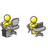 Yellow Men With Computers Royalty Free Stock Photography