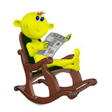 Yellow men reads the newspaper Stock Image