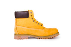 Yellow boots. Yellow men's boots  on white background Royalty Free Stock Images