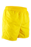 Yellow men shorts for swimming. Isolated on white background Stock Photos