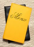 Yellow menu book Stock Images