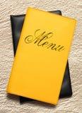 Yellow menu book Stock Images