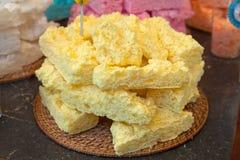 Yellow meringue cakes in pile Stock Photos
