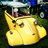 Yellow Messerschmitt. Black isle vintage vehicle rally car german Royalty Free Stock Photography