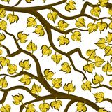 Yellow messy leaves on brown branches pattern Royalty Free Stock Image