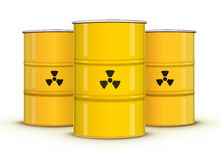 Yellow metal barrels Stock Photo