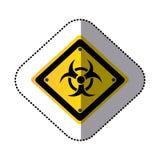 Yellow metal biohazard warning sign icon Stock Photography