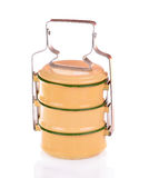 Yellow metal carrier tiffin, antique thai food carrier Royalty Free Stock Photos