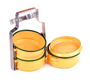 Yellow metal carrier tiffin, antique thai food carrier Stock Photo