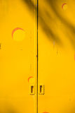 Yellow metal door Royalty Free Stock Images