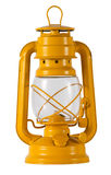 Yellow metal hurricane lamp Royalty Free Stock Image