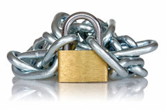 Yellow metal padlock and chain Royalty Free Stock Photos