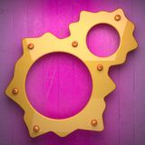 Yellow metal and pink wood background. 3D rendered Stock Images
