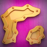 Yellow metal and pink wood background. 3D rendered Royalty Free Stock Photos