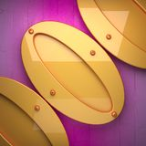 Yellow metal and pink wood background. 3D rndered Stock Photos
