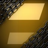 Yellow metal plate with some reflection and black elements. 3D rendered Stock Image