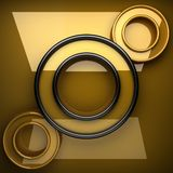 Yellow metal plate with some reflection and black elements. 3D rendered Royalty Free Stock Photos