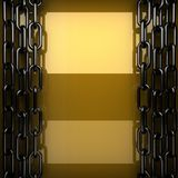 Yellow metal plate with some reflection and black elements. 3d rendered Royalty Free Stock Image