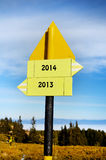 Yellow metal Road sign board. In the mountain royalty free stock photos