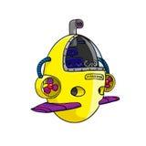 Yellow metal submarine. Vector image. Royalty Free Stock Photo