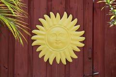 Yellow metal tin sun Stock Photography