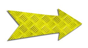 Yellow metallic iron direction arrow sign with steel checker plate or diamond plate industrial metal texture pattern cut out. Isolated on a white background stock photos