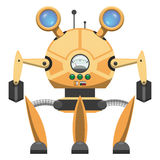 Yellow Metallic Robot with Three Legs Drawn Icon Royalty Free Stock Image