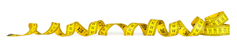 Yellow metric measuring tape Stock Photo