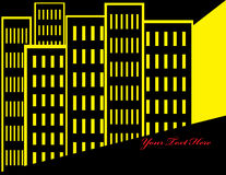 Yellow Metropolis. Stylized city buildings are featured in an abstract background illustration with space for text Stock Photos