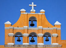 Yellow Mexican church against blue sky Royalty Free Stock Photography