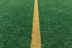 Yellow middle line on grass football field Stock Photos