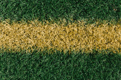 Yellow middle line on grass sports field Stock Photos