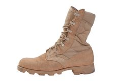 Yellow military boots isolated Royalty Free Stock Photos